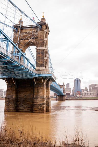 ストックフォト: 嵐 · 吊り橋 · ケンタッキー州 · オハイオ州 · 川 · 洪水
