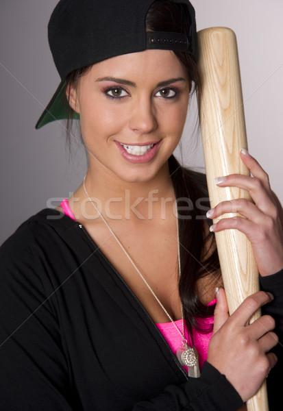 Csinos női baseball szerető fából készült denevér Stock fotó © cboswell