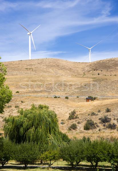 Rural Country Side Modern Green Wind Energy Generator Turibne Stock photo © cboswell