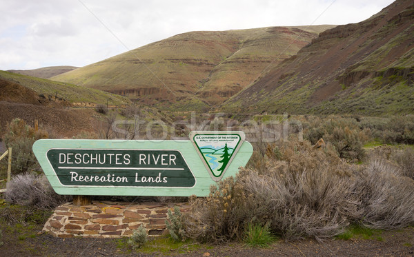 Deschutes River Recreation Lands Sign US Department of the Inter Stock photo © cboswell