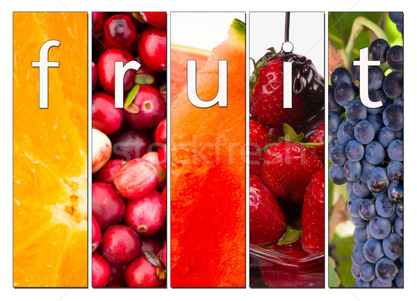 Fruit Composite Fresh Raw Food Cranberries Grapes Strawberries O Stock photo © cboswell