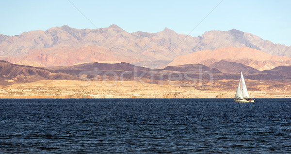 Sailboat Rides Wind Lake Mead Recreation Area Boaters Sail Stock photo © cboswell