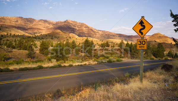 Stock photo: Curves Frequent Two Lane Highway John Day Fossil Beds