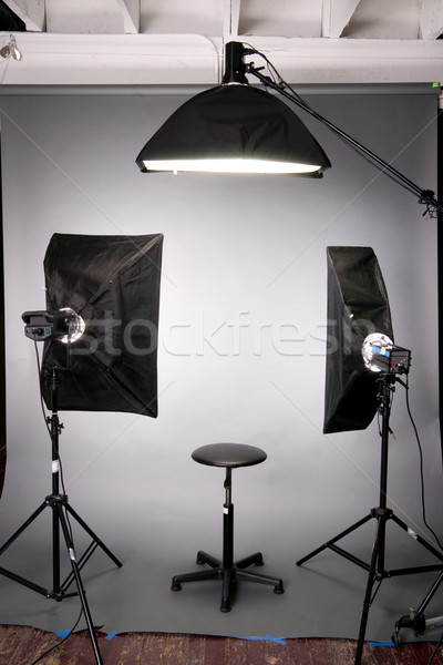 Photography Studio Lighting Background Setup Grey Stock photo © cboswell