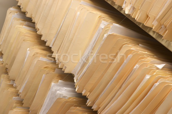 Rows of File Folders Arranged on Shelf with Client Data Stock photo © cboswell
