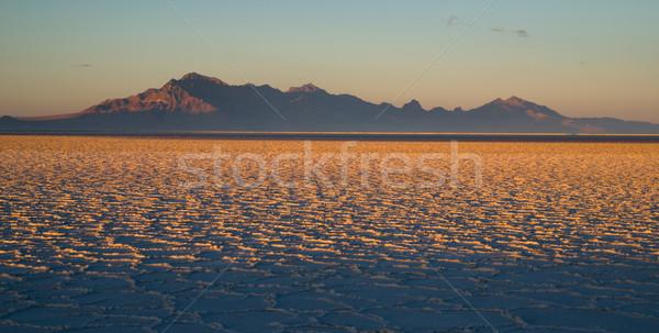 Bonneville Salt Flats Tooele County Utah Pleistocene Lake Sunset Stock photo © cboswell