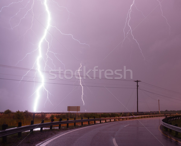 Huge Lightning Bolt Strike Storm Chaser Gulf of Mexico Stock photo © cboswell