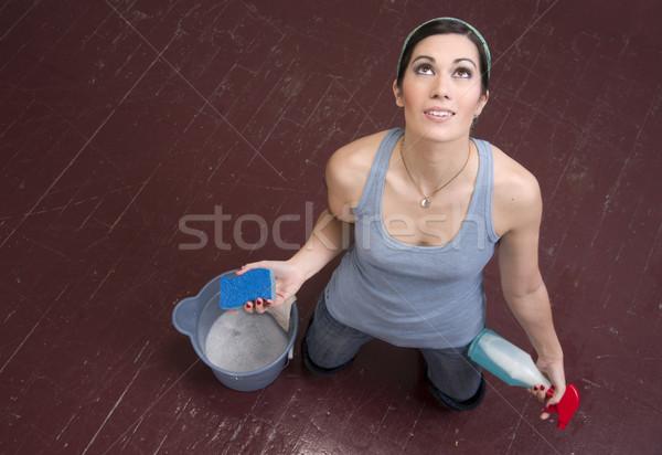 Gebed huishoudster vrouw werk werken Stockfoto © cboswell