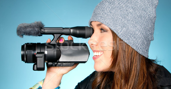 Hip Young Adult Female Points Video Camera Stock photo © cboswell