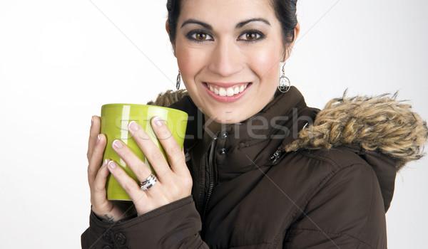 зима Кубок красивая женщина вверх кружка Ява Сток-фото © cboswell
