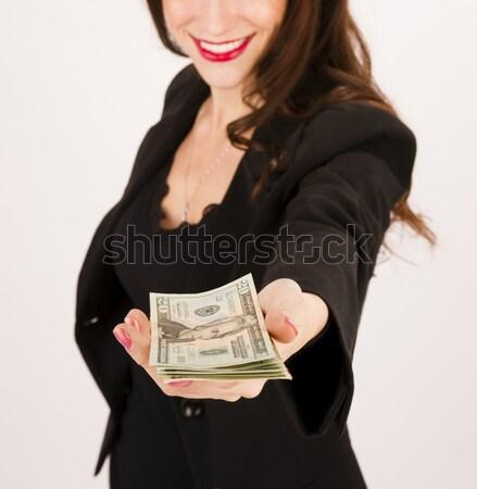 Vrouw zwarte twintiger geld Stockfoto © cboswell