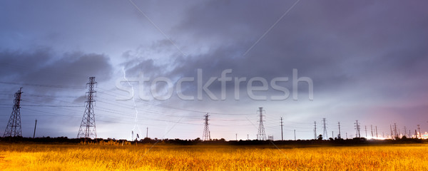 Electrical Storm Thunderstorm Lightning over Power Lines South T Stock photo © cboswell