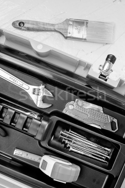 Various Household Tools Paintbrush Toollbox Monochromatic Stock photo © cboswell