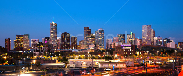 Centro da cidade urbano metro Colorado pôr do sol Foto stock © cboswell