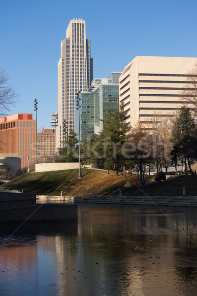 Omaha Nebraska Downtown City Skyline Missouri River Stock photo © cboswell