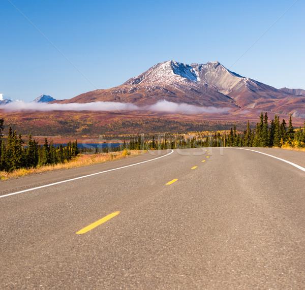 Highway Curve Wilderness Road Alska Mountain Landscape Stock photo © cboswell