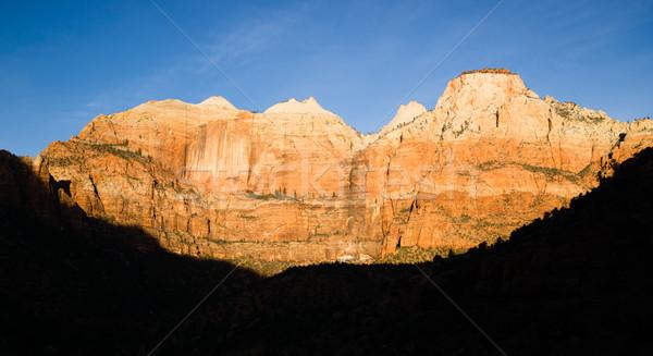 Foto stock: Nascer · do · sol · alto · montanha · parque · deserto · sudoeste
