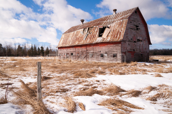 Farm Field Forgotten Barn Decaying Agricultural Structure Ranch  Stock photo © cboswell