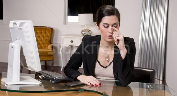 Oficina dolor de cabeza bastante recepcionista ordenador fondo Foto stock © cboswell