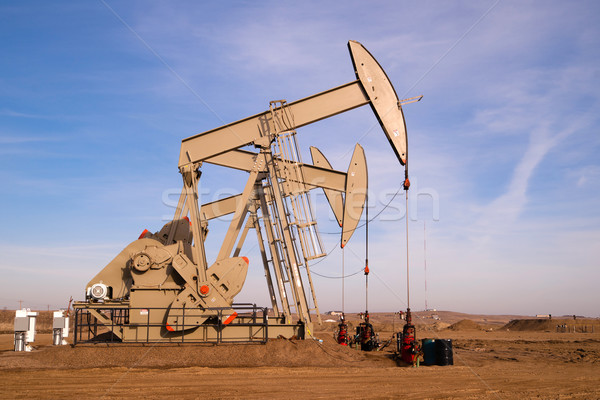 North Dakota Oil Pump Jack Fracking Crude Extraction Machine Stock photo © cboswell