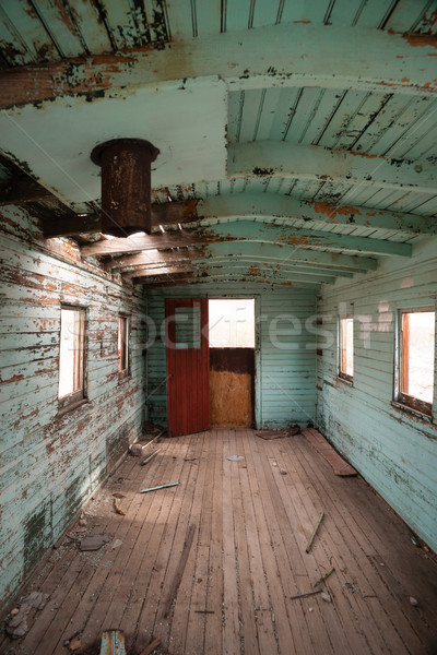 Abandoned Railroad Caboose Interior Western Ghost Town Stock photo © cboswell
