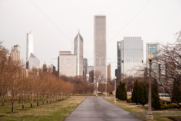 Spring Rains Grant Park Downtown City Center Chicago Illinois Stock photo © cboswell
