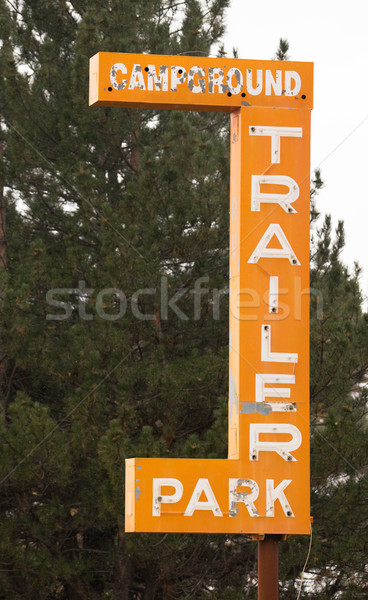 Campground Trailer Park Sign Advertising in Disrepair Stock photo © cboswell