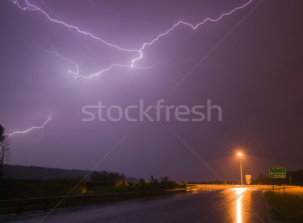 Spectacular Display Lightning Strike Eectrical Charge Thunder St Stock photo © cboswell