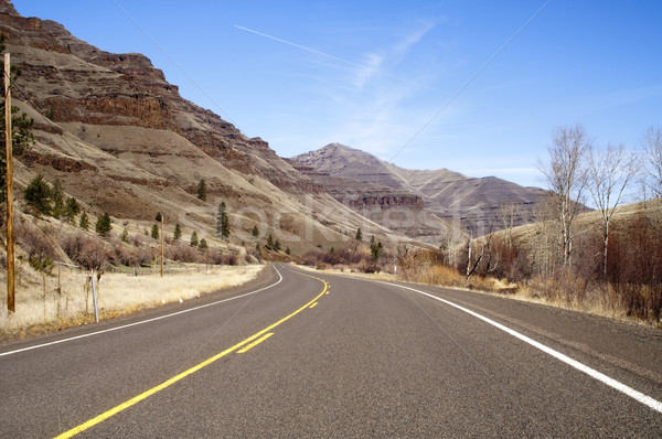Lonely Two Lane Divided Highway Cuts Through Dry Mountainous Lan Stock photo © cboswell