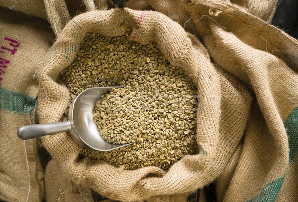 Greggio caffè semi raccogliere tela ruvida bag Foto d'archivio © cboswell