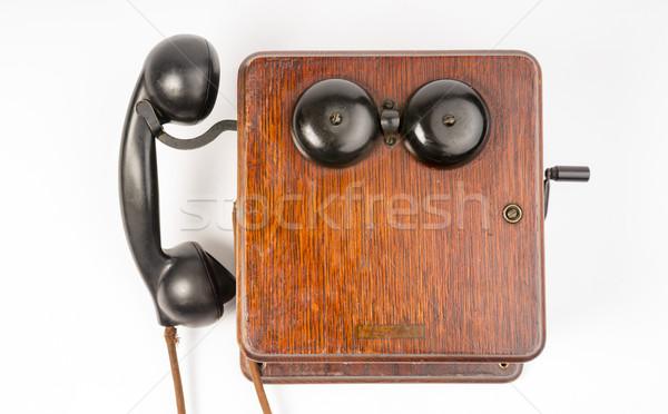 Klasszikus idejétmúlt tölgy telefon szett telefonkagyló Stock fotó © cboswell