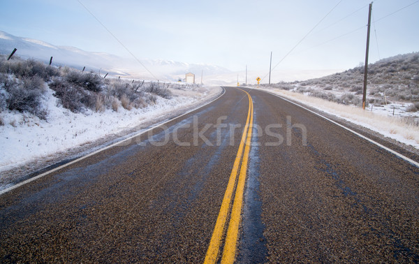 Snake River Valley Road Ranch Snow Falls Rural Farm Landscape Stock photo © cboswell