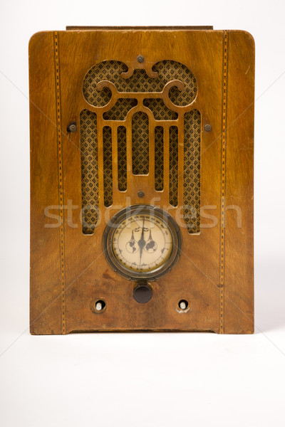 Dirty Old Antique Wood Console Vintage Radio Missing Knobs Stock photo © cboswell