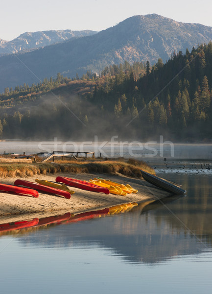 Rental Kayaks Rowboat Paddle Boats Pristine Mountain Lake Stock photo © cboswell
