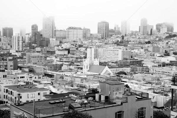 Barrio hogares edificios manana no centro de la ciudad Foto stock © cboswell