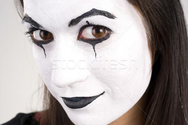 Beautiful Brunette Woman Theatrical Close Up Mime Dance White Fa Stock photo © cboswell