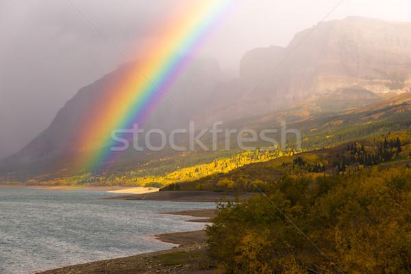 Regenboog vallen kleur meer veel gletsjer Stockfoto © cboswell