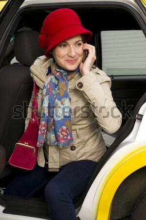 Pizza levering mooie vrouw geld glimlach model Stockfoto © cboswell