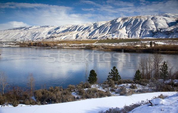 Columbia River Flows After Fresh Snow Stock photo © cboswell