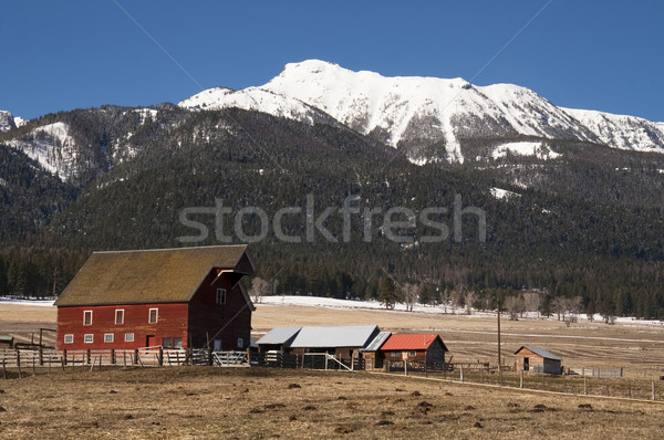 красный сарай горные ранчо западной Сток-фото © cboswell
