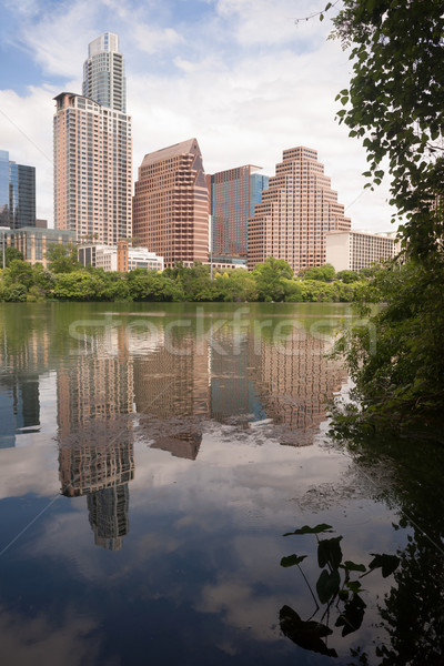 Austin City Skyline Under First Street Bridge Colorado River Stock photo © cboswell