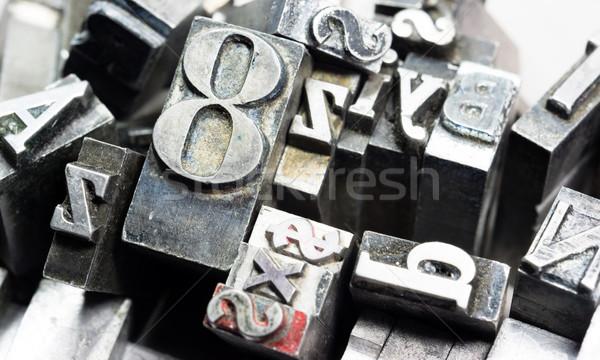 Fém nyomdagép betűkészlet idejétmúlt tipográfia Stock fotó © cboswell