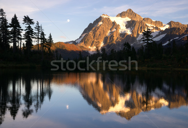 Mount Mt. Shuksan High Peak Picture Lake North Cascades Stock photo © cboswell