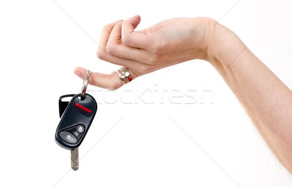 Sleutels hand autosleutels vrouw huid ring Stockfoto © cboswell