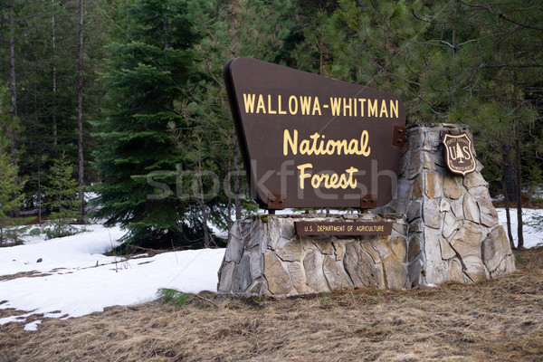 Stock photo: Wallowa Whitman Natinal Forest Entry Sign Boundary Oregon State