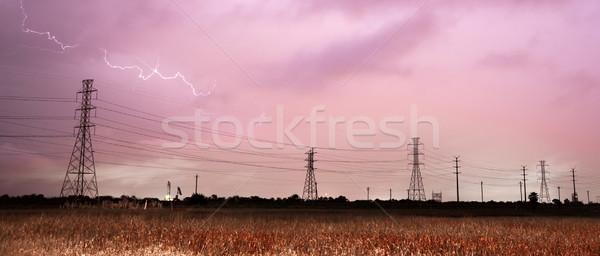 Mély dél zivatar villám sztrájk távvezeték Stock fotó © cboswell