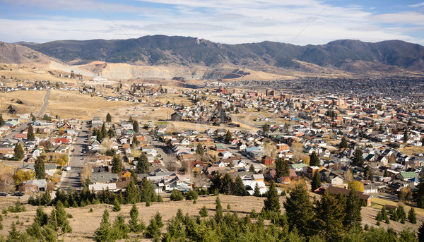 High Angle Overlook Walkerville Butte Montana Downtown United St Stock photo © cboswell