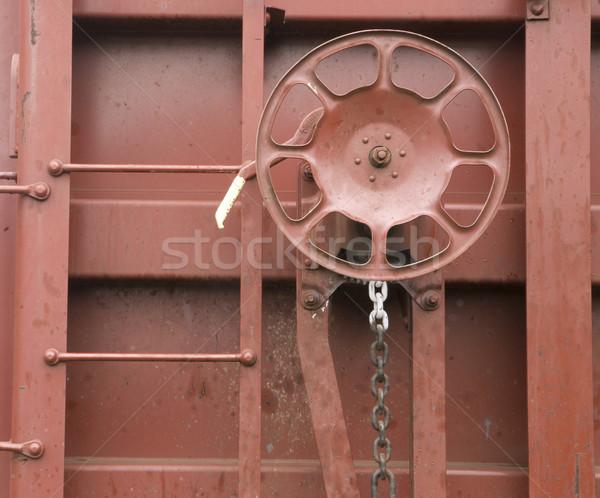 Railroad Boxcar Hand Brake Adjustment Wheel Cargo Transporter Stock photo © cboswell