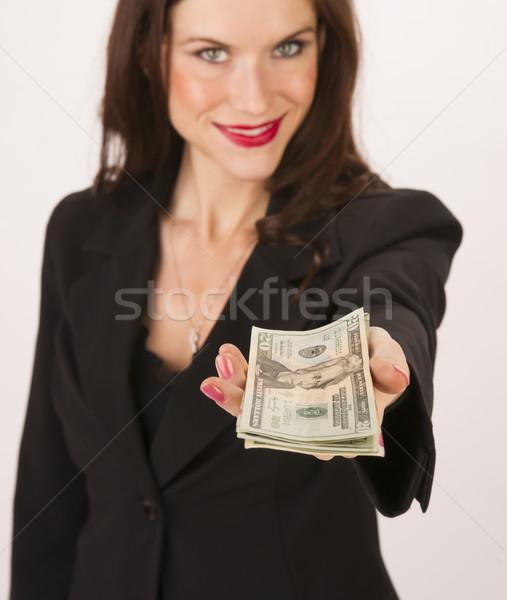 Foto stock: Mulher · de · negócios · mãos · numerário · pagamento · vinte