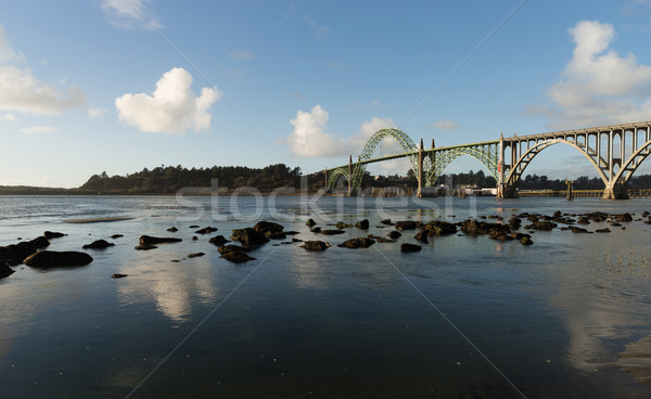 Yaquina Bay Shellfish Preserve Newport Bridge Oregon River Mouth Stock photo © cboswell